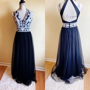 Blondie Nights Black Halter Formal Prom Dress